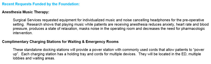 Charging stations, music therapy